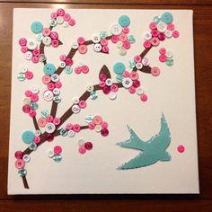 Cherry Blossom button art on canvas 12x 12 by EmerysMemories, $20.00