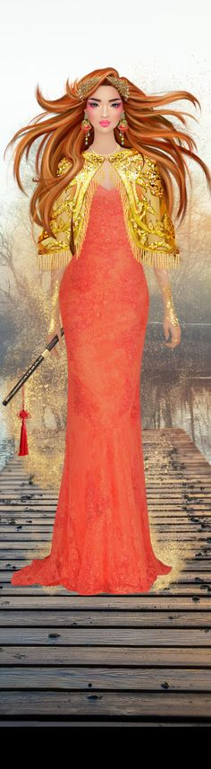 Red Hair Woman, Yellow Dress, Disney Characters, Fictional Characters, Aurora Sleeping Beauty, Female, Disney Princess, Dresses, Gold