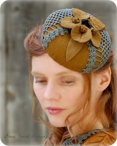 Autumn Fascinator Hat Vintage Style Pillbox Golden Brown Turquoise