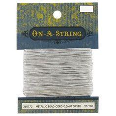 0.5mm Silver Metallic Bead Cord
