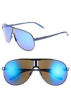 Men's Carrera Eyewear 64mm Aviator Sunglasses - Matte Blue/ Blue