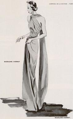 Madeleine Vionnet Fashion Illustration, 1930's.