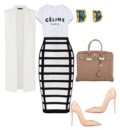 bymoi by helenaleny on Polyvore featuring polyvore fashion style Balmain Christian Louboutin Hermès clothing