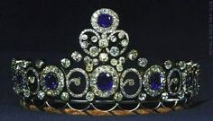 Mecklenburg-Schwerin Tiara Made in 1879 from sapphires and diamonds. Wedding present of Grand Duchess Anastasia Mikhailovna when she married the Grand Duke of Mecklenburg-Schwerin. Inherited by the Danish Royal Family Royal Crowns, Royal Tiaras, Tiaras And Crowns, Royal Crown Jewels, Royal Jewelry, Fine Jewelry, Anastasia Romanov, Diamond Tiara, Sapphire Diamond