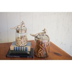 Kalalou Glass Canisters With Aluminum Fox Lids Set Of 3