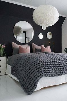 love this bedroom idea. perfect for a teen girl. like the colours and chunky kni… love this bedroom idea. perfect for a teen girl. like the colours and chunky knit blanket on the bed Cute Room Ideas, Cute Room Decor, Room Decor Bedroom, Night Bedroom, Bedroom Rustic, Ideas For Bedroom Walls, Adult Room Ideas, Attic Bedroom Ideas For Teens, Dark Gray Bedroom
