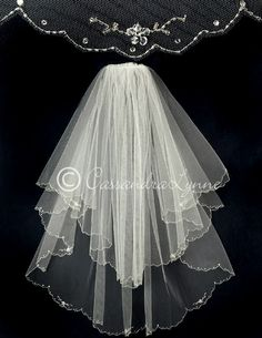 2T Seed Bead Wedding Veil with Crystal Flowers