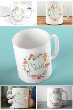 Floral Wreath Mum Mug, Pink & Green Floral Mugs   #prandski #personalisedmugs #mothersday #giftformum #mumsday #etsy