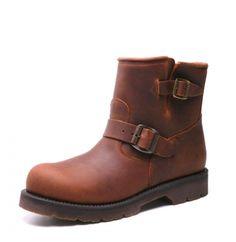 Boots moto cuir marron huilé