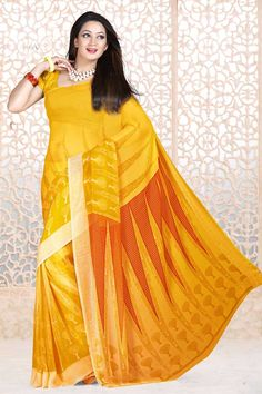 Indian Designer Yellow Sarees are now in store presents by Andaaz Fashion with price $38.54. Embellished with printed work and Yellow Georgette Short Sleeve Blouse. This is perfect for party wear, wedding, festival wear, casual, ceremonial. http://www.andaazfashion.us/yellow-georgette-saree-and-yellow-blouse-dmv7884.html