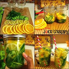 Cleanse water: cucumber, 1 lemon, orange, 12 sprigs of parsley. Thinly slice cucumber, and citrus. Layer each in jar (you can use or a pitcher) muddling as you go. Let sit for at least 1 hour to infuse before drinking. Healthy Water, Healthy Drinks, Get Healthy, Healthy Life, Healthy Eating, Healthy Recipes, Healthy Food, Yummy Food, Smoothies
