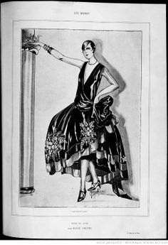 """1926 - Boué Soeurs Dress in black taffeta, embroidered in shades of purple, and trimmed at the bottom with black velvet ribbon """"et de Salambo."""" Les modes (Paris),"""