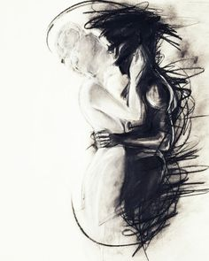 Charcoal drawing trying to depict the pain and frustration of a long distance relationship. Original art (Try Love) Arte Horror, Charcoal Drawing, Deep Drawing, King Drawing, Angel Drawing, Art Plastique, Love Art, Oeuvre D'art, Painting & Drawing