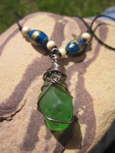 Green Sea Glass Necklace and Earrings Set by Soareyou on Etsy, $22.99