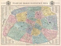 PARIS I Old Maps of Paris - Year 1864