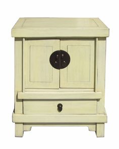 Off White Cream Lacquer End Table Nightstand cs378S