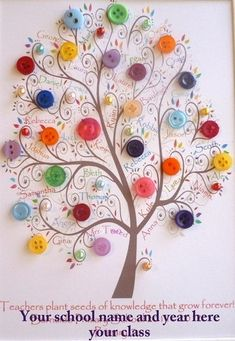 ~ Mini Button Class Tree ~ This is a wonderful idea for a Family Tree Too.... by Johnnie Hughes