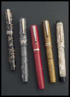 Several LeBoeuf fountain pens. Made in Springfield between 1927 and 1931.  #sundays #menswear