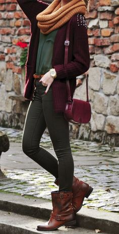 OUTFIT: maroon studded cardigan, snood, green skinny jeans, brown boots