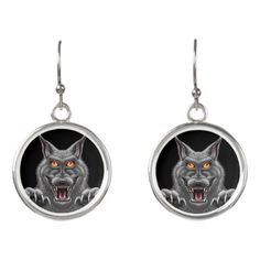 Fierce Werewolf Silver Plated Earrings
