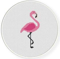 SALE Easy Stitch Pink Flamingo PDF Cross Stitch Pattern Needlecraft