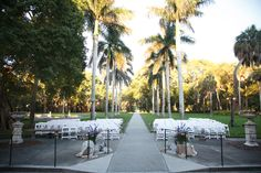 Pretty palm trees line the aisle at this luxe resort in a beautiful southeast location.Location:Ca' d'Zan Mansion in Sarasota, FL