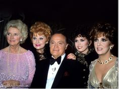 "Dolores Hope, Lucille Ball, Bob Hope, Marie Osmond,and Gina Lollobrigida attending the recording of the Bob Hope special ""Women I love: Beautiful,but funny"", 21 February, 1982"
