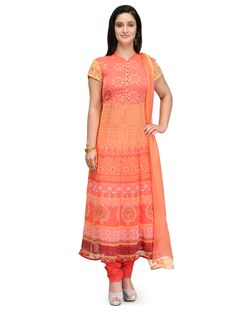 Shop Peach Flared Poly Georgette Suit Set online at Biba.in - SKD4427PCH