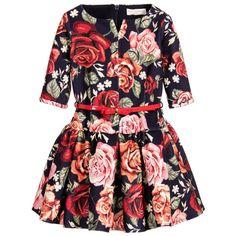 Monnalisa Chic - Blue & Red Floral Neoprene Dress | Childrensalon