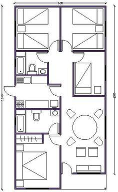 plano de casa de 72m2 Simple House Plans, My House Plans, Simple House Design, Bedroom House Plans, Cabin Plans, House Floor Plans, Home Design Plans, Plan Design, Casas Containers
