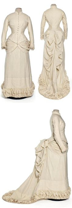 Wedding dress, Paris, 1882. Ivory wool satin. Les Arts Décoratifs