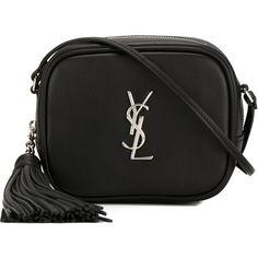 Saint Laurent Monogram Crossbody Bag (3.520 BRL) ❤ liked on Polyvore featuring bags, handbags, shoulder bags, bolsas, black, crossbody purse, monogrammed cross body purse, tassel handbag, shoulder handbags and tassel purse