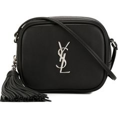 Saint Laurent Monogram Crossbody Bag ($596) ❤ liked on Polyvore featuring bags, handbags, shoulder bags, bolsas, bolsos, black, yves saint laurent, monogrammed purses, tassel handbag and cross body