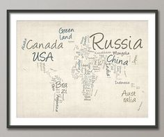 Writing Text Map of the World Map, Art Print  - 12x16 up to 24x36 inch (362)