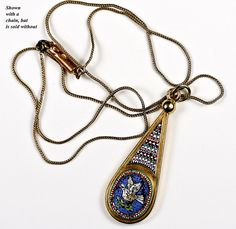Fine Antique 18k Gold, Etruscan Micro Mosaic Drop Pendant   c. Late Georgian To Early Victorian