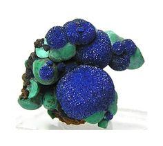 Deep Sparkling Blue Azurite on Malachite