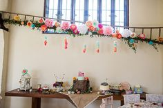 Cake Dessert Table Paper Flowers Decor Creative Colourful Mexican Outdoor Wedding http://www.binkynixon.com/