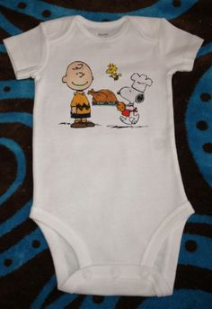 Thanksgiving Gift for the Baby:  Peanuts Charlie Brown, Woodstock, & Snoopy Thanksgiving Baby Onsie or Toddler T-shirt by Still Having Fun a...