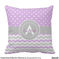 Purple Gray Polka Dot Chevron Throw Pillow