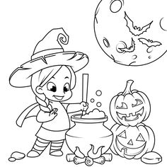 Cute Little Witch Cooking a Potion in a Cauldron coloring page from Witch category. Select from 32015 printable crafts of cartoons, nature, animals, Bible and many more. Cute Halloween Coloring Pages, Witch Coloring Pages, Spring Coloring Pages, Online Coloring Pages, Adult Coloring Book Pages, Cool Coloring Pages, Free Printable Coloring Pages, Coloring Books, Halloween Drawings