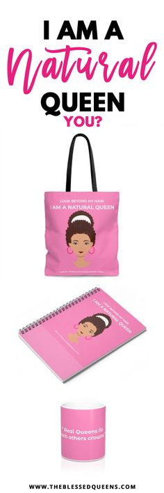 This lovely natural Hair tote bags, Notebook and Mug will make you fall in love with not only your natural hair but yourself!