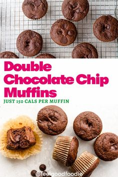 This Double Chocolate Chip Muffins recipe is only 150 calories per muffin. It's loaded with cocoa and chocolate chips - a real treat for chocolate lovers! Great as a snack, for dessert or a sweet treat to add to your lunch box! Yummy Snacks, Delicious Desserts, Snack Recipes, Vegetarian Recipes, Baking Recipes, Dessert Recipes, Double Chocolate Chip Muffins, Chocolate Chips, Baking Cups