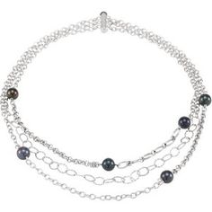 "#68495, Freshwater Cultured #Black #Pearl 18"" #Multistrand #Necklace, Nathalie's Jeweler"