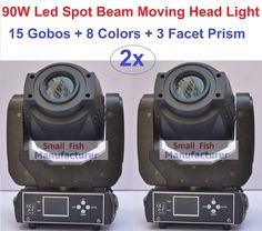 2xLot Factory Price 90W Beam Spot LED Moving Head Lights Professional Stage Lighting 15 Gobos Strobe Disco DJ DMX Equipment