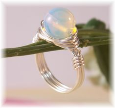 Moonstone Ring, Silver Ring, Statement Ring, Cocktail Ring, Novelty Ring, Wire Wrapped Ring, Bridal Jewelry, Trendy, Mother's Day Gift