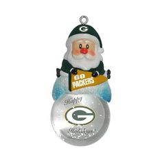Green Bay Packers Ornament - Santa Snow Globe #GreenBayPackers