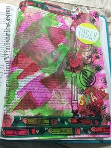 This Bible Journaling entry in the book of John really jumps off the page. It features acrylic paint swipes and the Doodles to Live By Illustrated Faith Kit.
