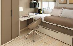 Habitación juvenil pequeña de estilo minimalista
