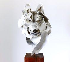 Wolf - paper art sculpture by Anna Wili Highfield Wolf Sculpture, Animal Sculptures, Art And Illustration, Cardboard Sculpture, Paper Sculptures, Paper Animals, Art Original, Paper Artist, Kirigami