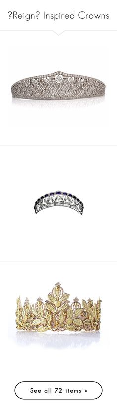 """👑Reign👑 Inspired Crowns"" by greerflower ❤ liked on Polyvore featuring accessories, hair accessories, flower garland, leaf garland, antique tiara, art deco hair accessories, leaf tiara, tiaras, crowns and jewelry"